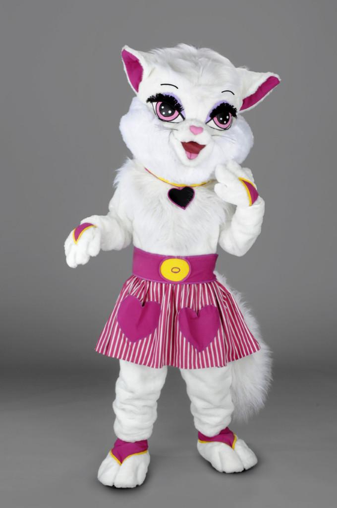 mascotte gattina bianca